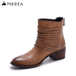 Wholesale Vintage Wedge Heel Boots - Nikbea Vintage Western Boots Cowboy Ankle Boots for Women Pointed Toe Boots Winter 2016 Autumn Shoes Pu Chunky Low Heel Booties