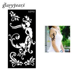 Wholesale Colored Flowers Tattoos - Wholesale- 1 Piece Hollow Henna Tattoo Stencil Henna Paste Colored Drawing Women Flower Airbrush Painting Tattoo Stencil Sexy Product S2112