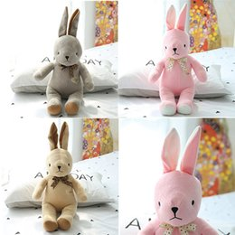Wholesale Pink Stuffed Bunny - 40cm I Love U Bunny Rabbit Plush Stuffed Toy with Straight Ears Colorful Soft Bunny Toy with Satin Bow