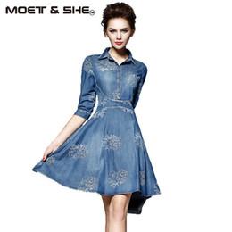 Wholesale Wholesale Plus Size Club Clothes - Wholesale- Summer Style Women Denim Dress Women Clothes Vintage Half Sleeve Long Embroidery Slim Dresses Plus Size Vestidos de festa D52547