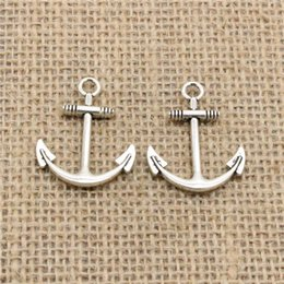 Wholesale Anchor Charm Tibetan - Wholesale 60pcs Charms Tibetan Silver plated anchor sea 31*25mm Pendant for Jewelry DIY Hand Made Fitting