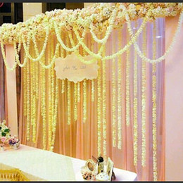 Wholesale Elegant Backdrops - Elegant White Artificial Orchid Wisteria Vine Flower 2 Meter Long Silk Wreaths For Wedding Backdrop Decoration Shooting Props 100pcs lot