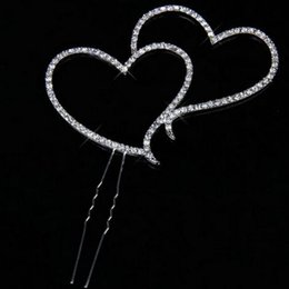 Wholesale Double Heart Wedding Topper - Romantic Crystal Rhinestone Silver Double Heart Cake Topper Wedding Personalized Decoration New Year Decor