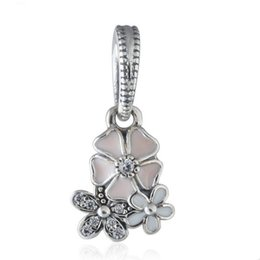 Emaille blume charme perlen online-Poetic bloom charm anhänger 925 sterling silber baumeln kristall emaille blume charme perlen für schmuck machen diy charme armband hb632