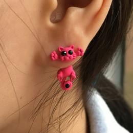 Wholesale Cat Earrings For Girls - Fashion Cute Cat Charms Earrings for Women Girls Animal Stud Piercing Earrings Jewelry New 10 Colors