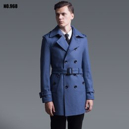 Wholesale Spring Trench Coats For Men - Wholesale- Outerwear 2016 spring and autumn fashion double breasted wool coat for men England stylish blue wool trench coat jacket gifts