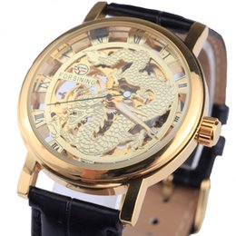 Wholesale Dragon Battery - Wholesale- Forsining Dragon Men's Mechanical Watch Black Gold Case Leather band Hollow watches Skeleton top brand luxury relogio masculino
