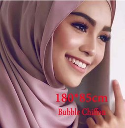 Wholesale Hijab Selling - 23 Colors High Quality Plain Pearl Bubble Chiffon Printe Solid Color Shawls Headband Popular Hijab Muslim Scarves scarf 2017 Hot Sell