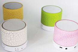 Wholesale Disc Player - Mini portable A9 crackle texture Bluetooth Speaker with LED light can insert U disc, mobile phone player with retail box