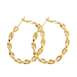 Wholesale Hoop Earrings Gold Twisted - New 18K Yellow Gold Plated Twisted Circle 4CM Big Large Round Loop Hoop Earrings for Women Girls Oorbellen Jewelry Pendientes Aros