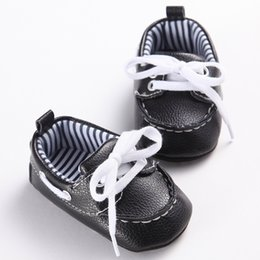 Wholesale Toddler Boy Loafer Shoes - 2017 Fashion Classic Leisure Blue Infant Toddler Baby Boy Kid Prewalker PU Leather Shoes Crib Babe Soft Soled Loafer 0-1 Years