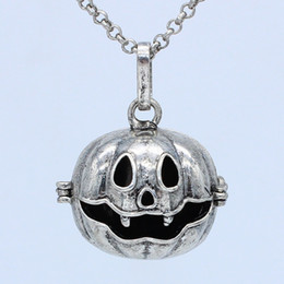 "Wholesale Pumpkin Necklaces - 5pcs Lot Antique Silver Aromatherapy Jewelry Pumpkin Cage Locket Openable Pendant Essential Oil Diffuser Necklace With 30"" Chain"