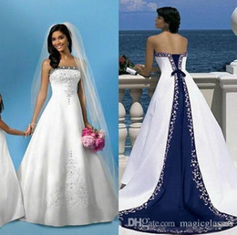 Wholesale Blue Winter Wedding Dresses - 2017 Vintage White And Blue A-Line Wedding Dresses with Strapless Sleeveless Pastels Stain Plus Size Long Church Formal Bridal Gowns Princes
