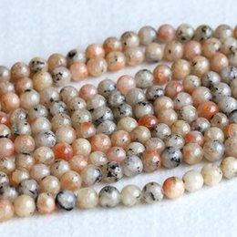 """Wholesale Round Gemstone Beads 14mm - Real Genuine Natural Orangle Gold South Africa Sunstone Round Loose Gemstone Ball Beads 4mm 6mm 10mm 12mm 14mm 15.5"""" 05240"""