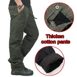 Wholesale Warm Pants Winter Trousers - Winter Double Layer Men's Cargo Pants Men Warm Thick Baggy Cotton Outdoors Trousers Casual Army Military Camouflage Tactical