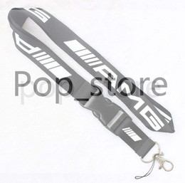 Wholesale Cell Phone Chain Lanyard - New! AMG Lanyard Keychain Key Chain ID Badge cell phone holder Neck Strap black and white.