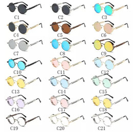 Wholesale 22 Vogue - 22 Colors Round Sunglasses Personality Sunglasses for Unisex Luxury Brand Designer Vogue Glasses Reflective Eyewear CCA7747 100pcs