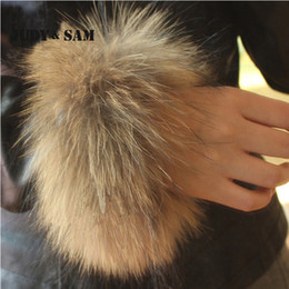 Wholesale Boots Coat - Wholesale- Wholesale Natural Color Genuine Fur Cuffs Real Raccoon Fur Boot Cuff Sleeve For Downcoat Women Winter Coat