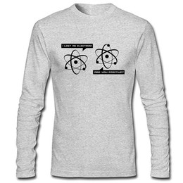 Wholesale Lost Shirt - Huntifly Men's I Lost An Electron Are You Positive Long Sleeve T-shirt Hip Hop Clothing Cotton Long Sleeve T Shirt Top Play Long Sleeve