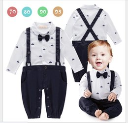 Wholesale Infant Boys Bowtie Rompers - Spring Fall 2017 New Baby Gentleman Rompers Newborns Long Sleeve Suspender Jumpsuits With Bowtie Infant Boys Onesies Toddler Kids One-Piece