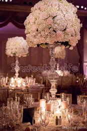 Wholesale Tall Crystal Stands - 75cm Tall 20pcs lot Wedding table candlestick flower vase Free shipping wedding flower stand crystal table centerpiece