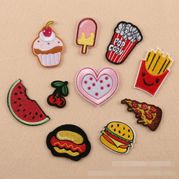 Wholesale Sewing Fabric Wholesalers - NEW Iron On Patches DIY Embroidered Patch sticker For Clothing clothes Fabric Badges Sewing popcorn icecream cherry design