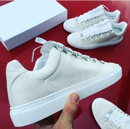 Wholesale Arena Sizes - 2017 Factory direct sale genuine leather men casual shoes arena Bal*nci*ga 10 colors low top shoes size 38-46