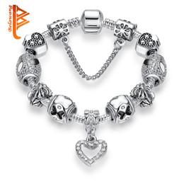 Wholesale Enamel Bow - BELAWANG Heart Shape CZ Pendant Silver Plated Charm Bracelets Enamel Bow Kont Beads Bracelet&Bangles DIY Jewelry with Safe Link Chain