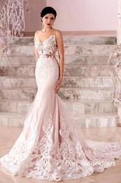 Wholesale Cheap Neckline Designs - Arabic Blush Mermaid Wedding Dresses 2017 Illusion Back Neckline Sweep Train Bridal Gowns New Design Cheap Wholesale Custom Made