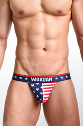 Wholesale Men Classic Briefs Underwear - 1PCS Sexy Men Striped Stars Gay Underwear Printed Briefs Bikini Low Rise Thongs Men Sexy G-Strings & Thongs FX1010