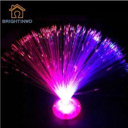 Wholesale Novelty Fiber Optic - Wholesale- 2016 Novelty Light Color Changing LED Fiber Optic Night Light Home Party Decoration Bright Glowing Lighting Nighlight Wholesale