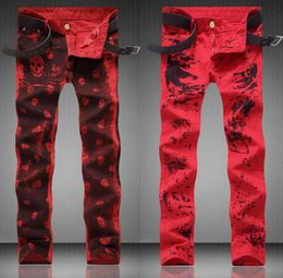 Wholesale Personalized Jeans - Red dance cheap jeans homme biker skinny print jeans men high quality male denim pants masculino motorcycle fashion new designer personalize