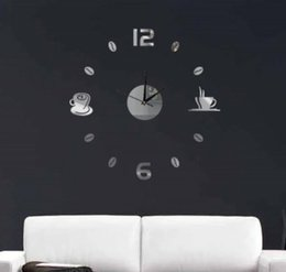 Wholesale Coffee Cup Clocks - Wholesale- Funlife(TM) DIY Coffee Cups Kitchen bar wall art mirror clock modern design silent watches home decoration wall clock wc1020