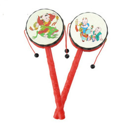Wholesale Hand Drum Sheepskins - FlyingTown Children's toys rattles non-sheepskin wooden wooden hand bells early education puzzle baby toys 0-1 years old