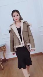 Wholesale Genuine Lamb Fur Coats - Women's Genuine Merino sheep Fur and Leather coat Genuine sheep leather jacket pure lamb liner
