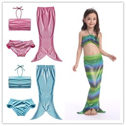 Wholesale Short Skirt Costumes - Girls glistening mermaid halterneck bikini 3pc set top+shorts+maxi mermaid skirt kids mermaid princess cosplay costume girls swimsuit 2-10T