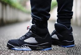 Wholesale High Reflective Pvc - (With Box) High Quality air retro 5 OG Black Metallic Men Basketball Shoes 3M Reflective Effect Sup retro 5s sport Sneakers eur 41-47