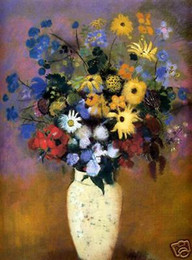 Wholesale Abstract Vases - Framed Redon Vase Of Flowers 1914,Pure Hand Painted Abstract floral Art Oil Painting On Canvas.Multi Sizes Available Free Shipping Vg027