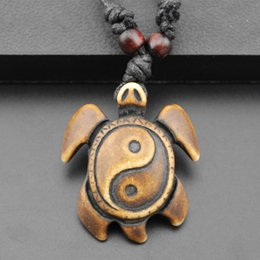 Wholesale Tibetan Chokers - Wholesale-Tibetan Yak Bone Yin Yang Turtle Charm Pendant Necklace Cord Choker Necklace