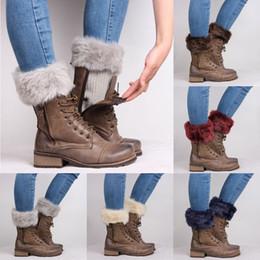 Wholesale Fur Trim Boots - Wholesale- Women Winter Leg Warmers Lady Crochet Knit Fur Trim Leg Boot Socks Toppers Cuffs