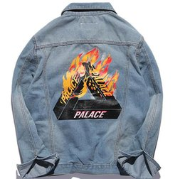 Wholesale Button Gradients - Palace Denim Jacket Men Jeans Jacket Slim Hip Hop Yeezus Tour Brand Clothing Streetwear Palace Denim Jackets