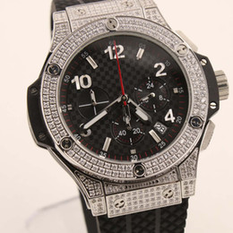 Wholesale Luxury Black Diamond Watches - top supplier AAA luxury brand watches black rubbber belts full diamonds case watch quartz chronograph sports watch man's dress wristwatches