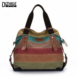 Wholesale Striped Tote Bags - Wholesale- Canvas Bag Tote Striped Women Handbags Patchwork Women Shoulder Bag New Fashion Sac a Main Femme De Marque Casual Bolsos Mujer