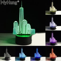 Wholesale Planet Lighting - Wholesale- City Building Shaped Creative Holiday Gifts Romatic 3D Remote Control Lights Lamp Acrylic Visual Party Decor Planet Usb Changer