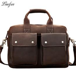 Wholesale Leather Briefcase Cowhide Mens - Wholesale- Mens Genuine Leather briefcase,15 inch Vintage Business bag,Cowhide Laptop Handbag,Mens Work tote fast post leather shoulder bag