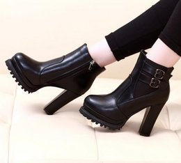 Wholesale Trendy Zips Women - Trendy Lace Up Chunky Heel Boots Women Stylish Winter Shoes 6 Colors Size 40