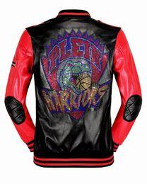 Wholesale Xl Slim Faux Leather Jacket - Top Brand Fashion Desinger Rhinestone Faux Leather Punk jacket brand PF55 Coats PU Leather Slim Fit Sporty Style Men Casual Jacket M-3XL