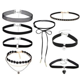 Wholesale Flower Chain Tattoos - 8 pcs set Clover Flower Heart stone Bowknot Black Tattoo Choker Cool Necklace for Women Girl Pearl Rivet Gothic DIY Selfie Jewelry