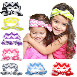 Wholesale Big Pink Band - Multicolor Girls ripple bow hair band Baby and big girls herring bone headband Childrens fashion Hair Accessories