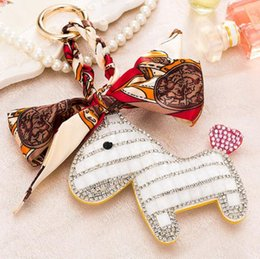 Wholesale Classic Exquisite Cars - Creative Full Rhinestones Small Horse Scarf Keychain Girls Bag Decoration Pendant Car Exquisite Key Chain Small Gift
